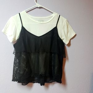 American Eagle Black layer sheer lace Camisole